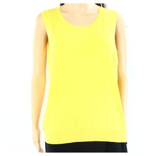 August Silk NEW Yellow Womens Size XL Solid Scoop Neck Sweater Vest