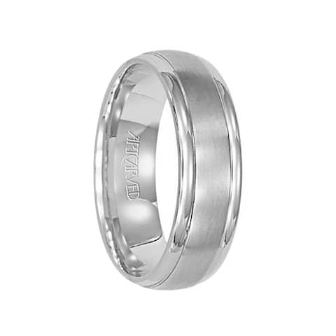 CORINTHIAN 14k White Gold Wedding Band Brushed Finish with High Polished Rolled Edges by Artcarved - 6mm