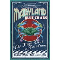 Pasadena MD - Blue Crabs Vintage Sign - LP Artwork (Art Print - Multiple Sizes)