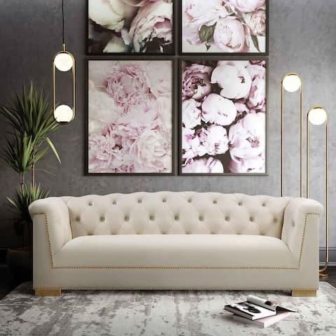 Farah Cream Velvet Sofa