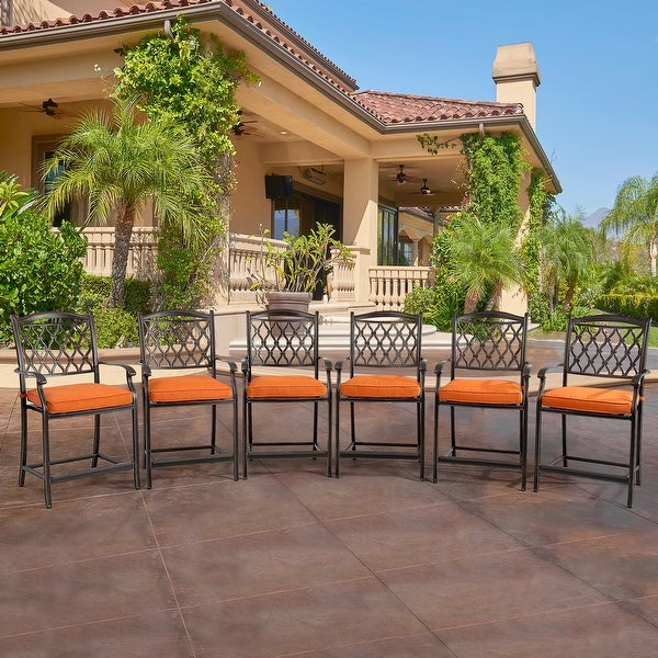 Clihome 6 Pieces Cast Aluminum Diamond-Mesh Dining Bar High Chairs - N/A. Opens flyout.