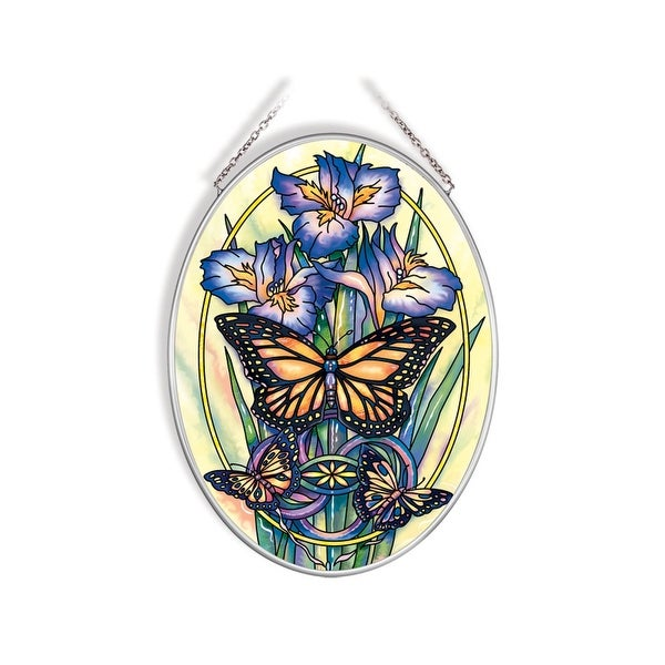 """Blue and Yellow a New Day Has Come Oval Glass Wall Art Decor 7.25"""" x 5.50"""" - N/A"""