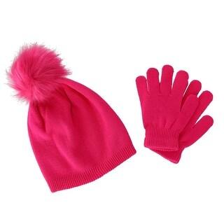 CTM® Girl's 7-14 Acrylic Beanie with Pom and Glove Set