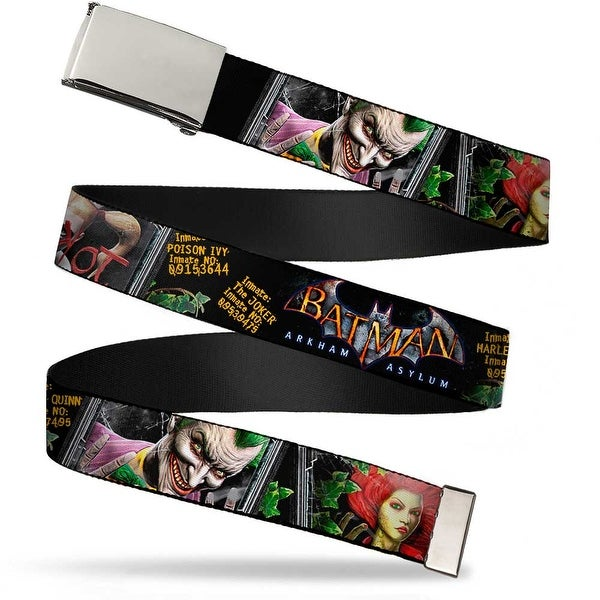 Blank Chrome Buckle Batman Arkham Asylum Patients Joker Poison Ivy Web Belt