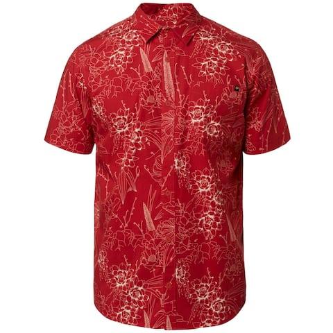 Fox Mens Button-Down Shirt Printed Collar - Rio Red - L