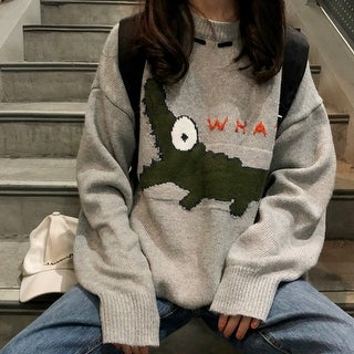 Women'S Sweater Cartoon Loose Pullover Sweater