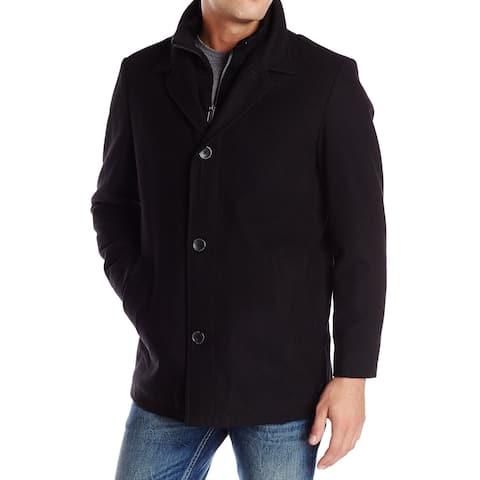 Nautica Black Mens Size XL Walkwer Bib Button Zip Coat Wool