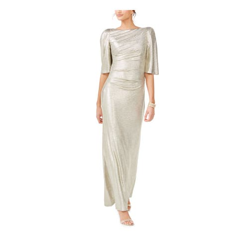 ELIZA J Gold Bell Sleeve Full-Length Sheath Dress Size 10