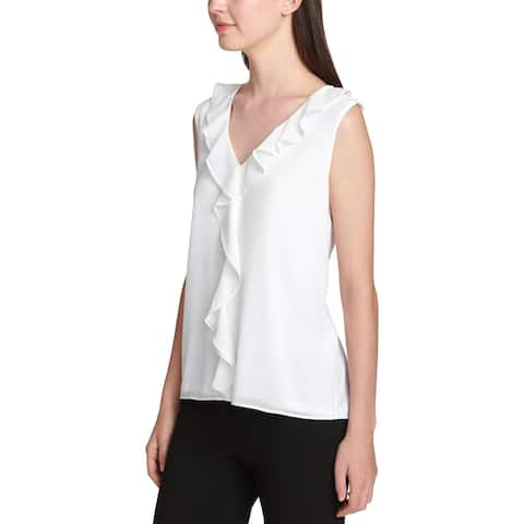 Calvin Klein Womens Blouse Sleeveless Ruffle