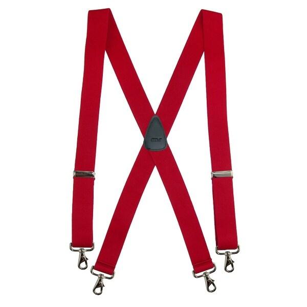 Red Mens Elastic Adjustable 2 Inch Wide X-back Suspenders American Flag Suspenders