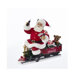 """13.25"""" Red and White Santa Claus on Coca-Cola Train with LED Garland"""