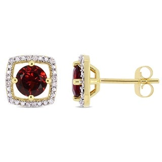 Link to Miadora 10k Yellow Gold Garnet and Diamond Accent Floating Square Halo Stud Earrings Similar Items in Earrings