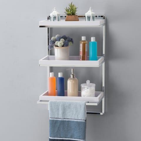 Wall Mount 3-Tier White and Chrome Bathroom Shelf with Towel Bar
