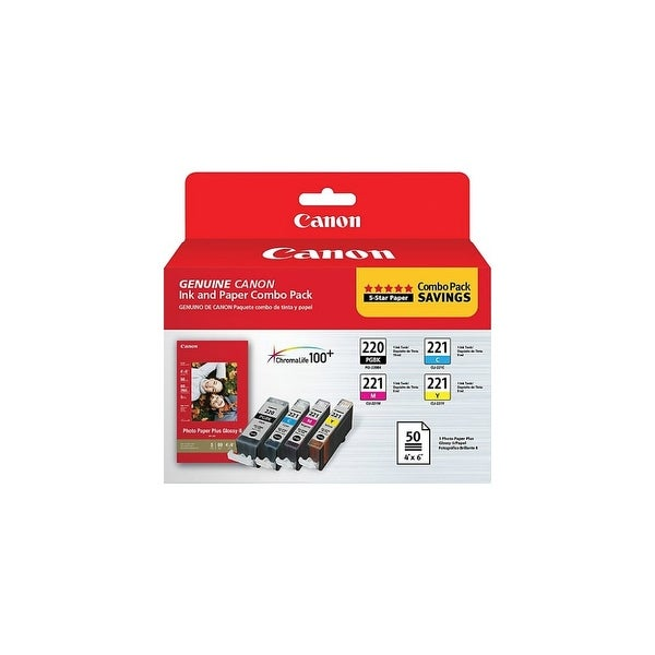 Canon PGI-220/CLI-221 Ink/Paper Combo Pack PG-220/CL-221 with Photo Paper