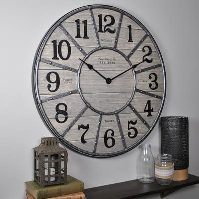 Cooper Farmhouse Wall Clock, American Crafted, Gray, Plastic, 27 x 2 x 27 in