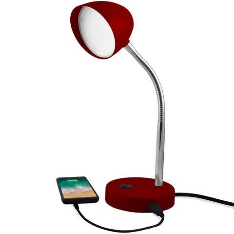 MaxLite LED Desk Lamp with USB Charging Port, Burgundy Desk Lamp, Adjustable Neck, On/Off Switch, Warm Gentle Light - Red