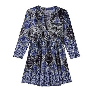 Women's Tunic Top - Royal Blue Paisley Pleated Front V-Neck Blouse