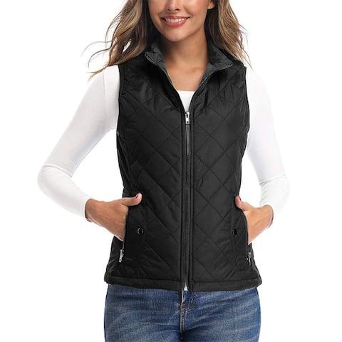 Women's Vests Lightweight Padded Vest Stand Collar Zip Quilted Gilet