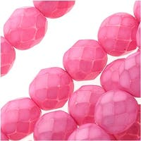 Czech Fire Polished Glass Beads 8mm Round - Plumeria Pink (25)