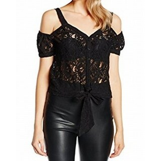 Guess NEW Black Womens Medium M Knot-Front Lace Cold-Shoulder Knit Top
