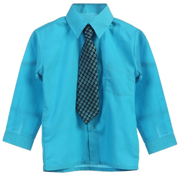 bb7c69862660bb Shop Little Boys Turquoise Tie Long Sleeve Button Special Occasion Dress  Shirt 2T-7 - Free Shipping On Orders Over $45 - Overstock - 18506636