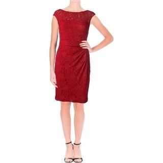 Lauren Ralph Lauren Womens Petites Party Dress Lace Sleeveless