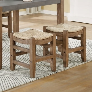 Link to The Gray Barn Enchanted Acre 18-inch Wood Stools with Rush Seats (Set of 2) Similar Items in Dining Room & Bar Furniture