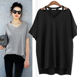 Women Cosy 100 Percent Cotton T-Shirts Tee Summer Top +Necklace