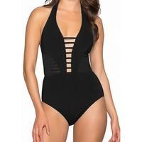 Jets by Jessika Allen Black Women's 10 One-Piece Strappy Swimwear