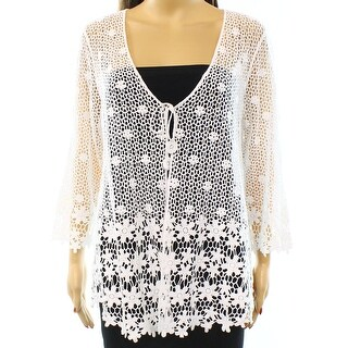 Alfani NEW White Women's Size Small S Floral Crochet Cardigan Sweater
