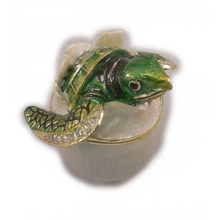 "Sea Creations Turtle Hatching Jewelry Box 2.5"" Green"