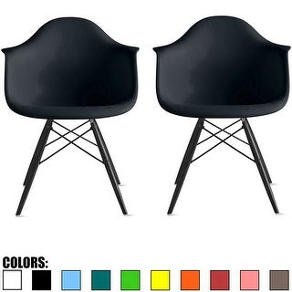 2xhome Modern Armchair With Arm Dining Chair Colors With Dark Black Wood Legs (Set of 2)