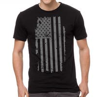 American Flag Patriotic Distressed Design Men's Black T-shirt