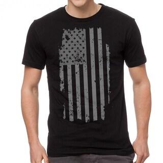American Flag Patriotic Distressed Design Men's Black T-shirt