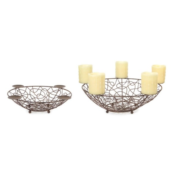 "Set of 2 Brown Metal Display Bowls with Candle Holders 14""-17"""