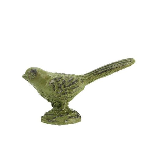"7.25"" Distressed Green and Brown Decorative Perched Bird Table Top Figure"