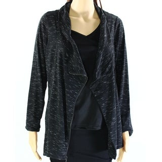 INC NEW Black Space Dye Women's Size Medium M Draped Cardigan Sweater