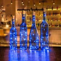 AGPtek 8PCS Cork shape lights Bottle Mini String Light 30inch for Decoration - Blue