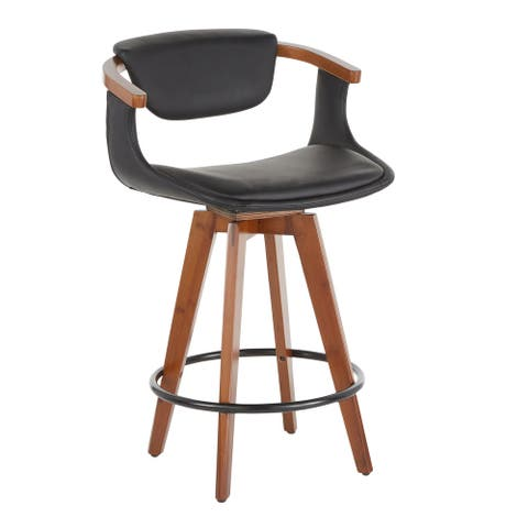 Oracle Mid-Century Modern Counter Stool in Faux Leather & Walnut Wood - N/A