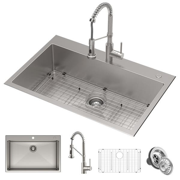 Kraus Stark 33 Inch Undermount Drop In Kitchen Sink Pulldown Faucet Combo Overstock 28626044