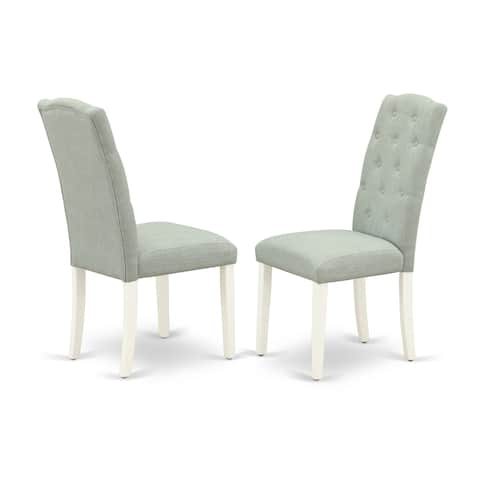 CEP2T15 Celina Parson Chair with Linen White Leg and Linen Fabric Baby Blue