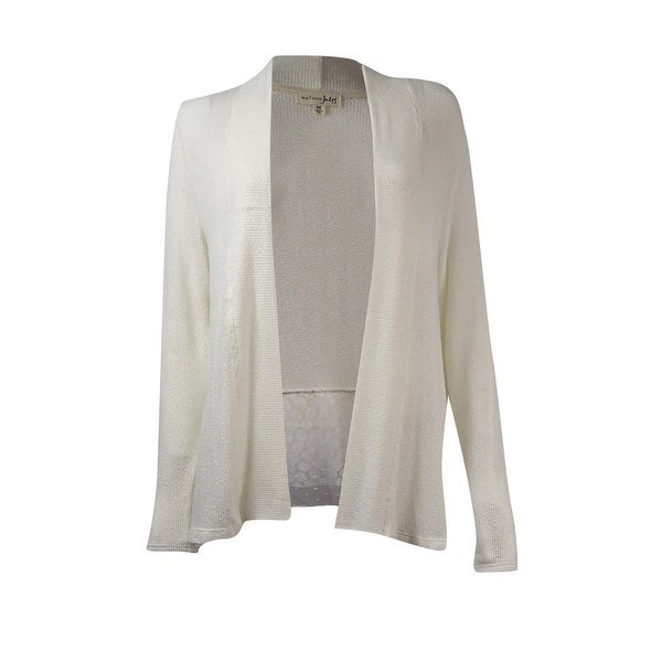 Maison Jules Women's Tiered-Lace Knit Cardigan - Egret