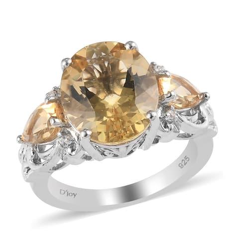 Shop LC Platinum Over 925 Silver Labradorite Citrine Ring Size 8 Ct 5