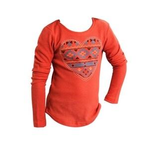 Roper Western Shirt Girls Aztec Heart L/S Orange 03-009-0514-6043 OR