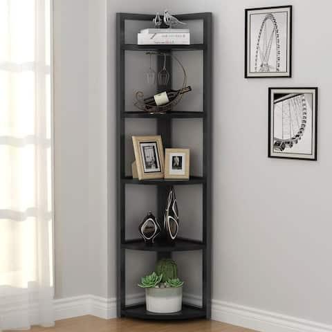 5-tier Corner Storage Rack Bookshelf