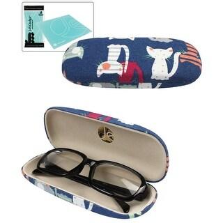 JAVOedge Cat Pattern Fabric Covered Eyeglass / Reading Glass Hard Case - Blue