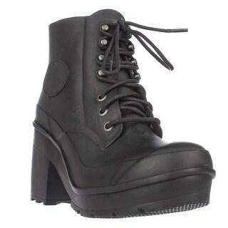 Hunter Original Block Heel Lace Up Rainboots, Black (5 options available)