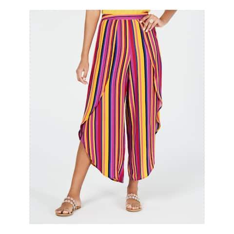 THALIAN Womens Purple Ruffled Striped Wide Leg Pants Size S
