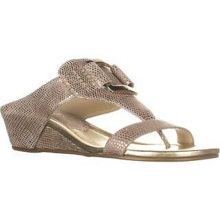 Donald J Pliner Daun T-Strap Wedge Sandals, Platino