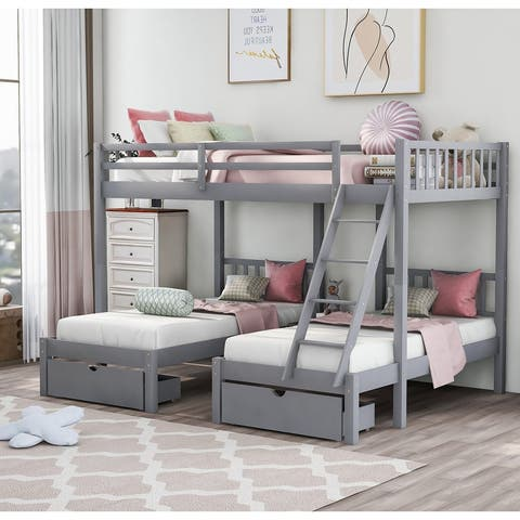 [Pre Sale]Wood Triple Bunk Bed with Drawers and Guardrails(Gray)